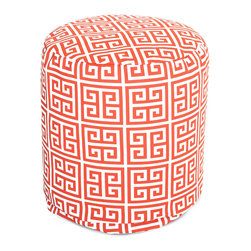 Majestic Home - Outdoor Orange Towers Small Pouf - Add comfort and flare to any room with Majestic Home Goods Indoor/Outdoor Small Pouf Ottomans. These small poufs can be used as a foot stool, side table or as extra seating in your home or backyard. The beanbag inserts are eco-friendly by using up to 50% recycled polystyrene beads. The removable zippered slipcovers are woven from Outdoor Treated polyester with up to 1000 hours of U.V. protection, and are machine-washable.