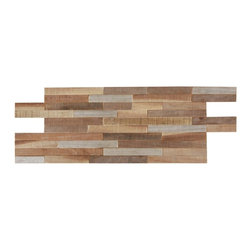 Indo Tiles - Linear Teak Mosaic Tile, Natural Tan, 6x24, Carton - Carton of  Linear Teak Mosaic Tile. This is a very unique mosaic fashioned from reclaimed teak. The teak is typically used in the Indonesian furniture industry and the excess waste pieces are gathered, cut and puzzled into this very unique mosaic. Teak is a naturally very hard wood and very durable which is why some of the pieces of reclaimed teak may be 400 years old or more. Each piece has its own shade of patina and is part of the natural character of the tile. Installation is a very simple glue up application so it is ideal for any DIY or professional wishing to create an amazing feature wall, backsplash or accent with minimal labor. Price LISTED FOR 1 CARTON OF10 SHEETS = 10.00 SQUARE FEET