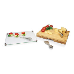 Picnic time - Concerto Cheese Board w/ serving stage and tools - Glass-top cutting board with removable serving tray top and stainless steel cheese tools.