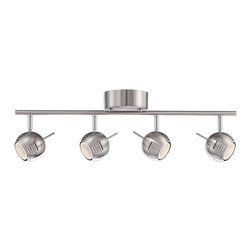 "ProTrack - Contemporary Boyce 4-Light Brushed Steel LED Track Fixture - Add illumination to your ceilings with this sleek track fixture. Finished in a gleaming brushed steel with circular adjustable lights. Included LEDs add energy efficiency to this contemporary design.  Brushed steel finish.  Adjustable design.  Includes four 5 watt LEDs.  2700K color temperature.  Light output is 1400 lumens.  Comparable to four 35 watt incandescent bulbs.  30"" wide.  5"" high.  6"" deep.  120 volt.  Not dimmable."
