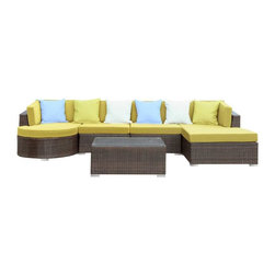 Modway - Montana 5 Piece Sectional Set in Brown Peridot - Nestled among the expanse of the Rocky Mountains lies a land of big skies and even bigger dreams. With its assorted pieces to fit every seating position, the Montana set is symbolic of the treasured nature of its namesake. While Montana is termed Big Sky Country and the Land of the Shining Mountains, the set itself is the stuff dreams are made of. Montana is comprised of UV resistant rattan, a powder-coated aluminum frame and all-weather cushions. The set is perfect for cafes, restaurants, patios, pool areas, hotels, resorts and other outdoor spaces.