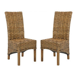 Safavieh - Chiana Side Chair - A new take on the classic wicker seating, the beautifully woven rattan of the transitional Chiana Side Chair is crafted of renewable mango wood in a light walnut brown finish. Use this chic high-back chair around a dining room or kitchen table for comfort and timeless style.