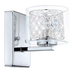 Eglo - Pianella 1-Light Wall Sconce - The fabulously spiraled chrome cage of the Pianella family is housed inside sleek.