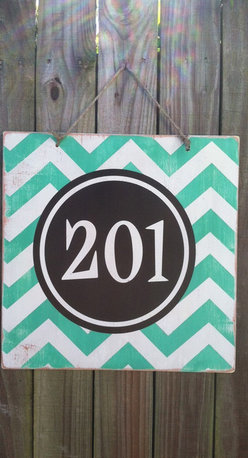 Chevron Door Hanger with House Number by Expressions Wall Art - This makes me think of a very preppy young couple that recently got married. I love the colors, and it would be a great way to showcase the address of a first home.