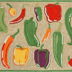 Trans Ocean Import - Frontporch Peppers Neutral Rectangular: 2 Ft. x 3 Ft. Indoor/Outdoor Rug - - This group of whimsical rugs is sure to liven up any indoor or outdoor space. Lightweight loosely tufted Indoor Outdoor rugs. UV stabilized to resist fading.   - Pile Height: 0. 38-Inches   - Backing Material: Natural Latex   - Cleaning and Care: Vacuum Regularly. Do not use beater brush if long ends appear do not pull. This is not a defect. It is a normal occurrence in hand tufted rugs and is easily remedied using scissors to trim the sprouted section even with the rug. Sponge spots clean   - Will be delivered in first quality and guaranteed for a year under normal wear. Trans Ocean Import - FTP23146224