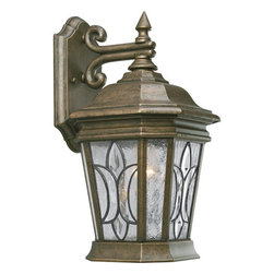 Progress Lighting - Progress Lighting P5658-86 Cranbrook Single-Light Small Outdoor Wall Lantern - High style goes outdoors with this gorgeous outdoor wall lantern from the Cranbrook collection. A timeless sloping roof meets dazzling tiffany style art glass, which is perfectly paired with a ravishing hand-painted finish. This fixture is rated for outdoor use and ready to stand up to the elements while remaining fashionable and fetching.Features: