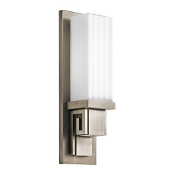 None - Greek Key Indoor/ Outdoor Pewter Wall Sconce - Create a traditional Greek look on your patio or other outdoor structure with this outdoor pewter wall sconce. The sconce mirrors the look of Greek pillars and design accents, creating a light-giving conversation piece sure to impress guests.