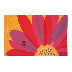 Homefires - Ladybug On Pink Sunflower Rug - Fly away home … This ladybug and flower wool lookalike rug is ready to land in your hallway, bedroom or bathroom, making your home all the brighter for it.
