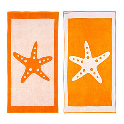 FREEMAN LCL - Cotton Reversible Oversize Beach Towel, Orange/White, Starfish - This wonderfully lush, oversized beach towel features a fun starfish print on both sides. Made from super plush cotton, this beach towel is reversible for versatility.