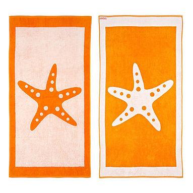FREEMAN LCL - Cotton Reversible Oversize Beach Towel, Orange/White, Starfish - This wonderfully lush, oversized beach towel features a fun starfish print on both sides. Made from super plush cotton, this beach towel is reversible for versatility.