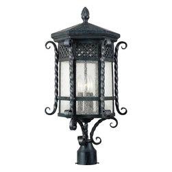 Joshua Marshal - Three Light Country Forge Seedy Glass Post Light - Three Light Country Forge Seedy Glass Post Light