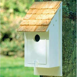 Lazy Hill Farms Classic Blue Bird House - Bluebirds mate for life. Give your blue lovebirds a cozy love nest built for two with this Lazy Hill Farms Classic Blue Bird House. Loaded with charm, this adorable bird house features a solid cellular white vinyl body that has the look and feel of genuine wood without the maintenance. It's topped with a detailed redwood shingle roof and has a large front panel that opens for easy cleaning. To keep our feathered friends safe, please mount this bid house 6 feet off the ground and in an open area.About Lazy Hill Farm Designs Lazy Hill Farm Designs is a leader in garden and birding accessories. They are known for turning exquisite designs into exceptional quality garden accessories. All Lazy Hill Farm products are made of solid cellular vinyl that looks and feels like genuine wood yet requires no maintenance. All the roofs are removable for easy cleaning and each one is handcrafted in America. These are among the finest garden accessories on the market.