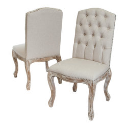 Great Deal Furniture - Jolie Beige Linen Dining Chairs (Set of 2) - he Jolie Beige Linen Dining Chair is the perfect compliment to your dining table. With its tufted back and well padded seats, you'll find yourself enjoy conversations long into the evening with friends and family.