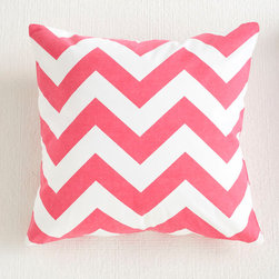 Chevron Pillow Cover - Pink - Graphic pillows are the simplest way to update a room. Add a few to your sofa, arm chair, and bed; instant makeover! This one comes in a few vibrant colors so you can spread them out around the house. Each cover is made of 100% cotton.
