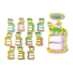Carson-Dellosa - Carson-Dellosa Birthday Frog Bulletin Board Decoration Set - Bulletin board decoration set includes 12 slices of cake, 12 coordinating monthly headers, and a resource guide. The theme is Birthday Frog. each slice of cake is approximately 10-1/4 x 15-1/4. Bulletin board set is designed for grades up to fifth and ages up to 10.