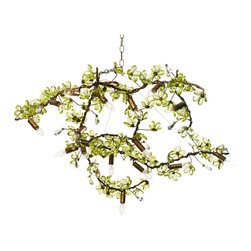 Branches Chandelier A - Hanging light, or hanging sculpture, this transitional chandelier from the Branches collection heightens the organic lushness of your home d�cor while setting its geometry just slightly, stylishly askew.  Hung on an angle, the artful wire branch is both romantic and architectural; it composes five lights and nearly countless artful flowers along its organic length, offering a versatile way to light up your room's illumination and its artistic look.