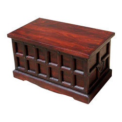 Sierra Living Concepts - Cherry Wood Storage Chest Trunk Toy Box Coffee Table - Multi-purpose Storage Trunk with a beautiful cherry finish and wrought iron nails on all sides.