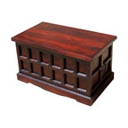 Sierra Living Concepts - Cherry Wood Storage Chest Trunk, Toy Box, Coffee Table - Multi-purpose Storage Trunk with a beautiful cherry finish and wrought iron nails on all sides.