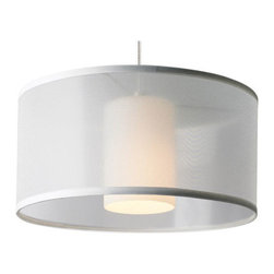 Tech Lighting - Freejack LED Mini Dillon Pendant - Freejack LED MIni Dillon pendant features a translucent organza drum shade with inner glass cylinder to provide a soft wash of light. Shade available in brown and white. Finish available in antique bronze, chrome and satin nickel. Includes 6 feet of field-cuttable suspension cable. One 6 watt replaceable LED module included. Also available in a halogen version. 13 inch diameter x 6 inches high. ETL listed.
