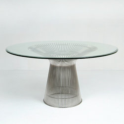 Modern Classics - Platner: Round Dining Table Reproduction - Features:Stainless steel wire baseTempered 5/8 inch glass topSpecifications:Overall Dimensions (in): 54w x 54d x 29hWeight: 180 pounds