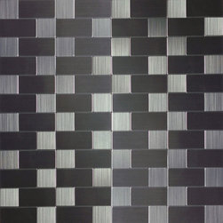 None - Peel and Stick 1-foot Mosaic Tile - Add striking contrast to your kitchen or bathroom space with this grey and black tile. Made with durable metal,this waterproof decorative tile can be installed over existing tile or drywall using a simple peel and stick method.