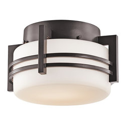 Kichler Lighting - Kichler Lighting Pacific Edge Modern / Contemporary Outdoor Flush Mount Ceiling - From the Pacific Edge Collection comes this modern, stream lined Kichler Lighting outdoor flush mount ceiling light. The curvilinear and angular lines of the body are constructed of aluminum and finished in an Architectural Bronze hue. This modern flush ceiling light also features a satin etched cased opal glass shade that is ideal for outdoor lighting.