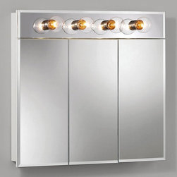 Lighthouse Distribution Corp - Broan-Nutone Ashland Tri-View 4-Light 30W x 28H in. Surface Mount Medicine Cabin - Shop for Bathroom Cabinets from Hayneedle.com! If you're searching on our site we're pretty sure you need this product. It is after all a medicine cabinet. But not just any medicine cabinet. We think it's a pretty good one. The Broan-Nutone Ashland Tri-View 4-Light Surface Mount Medicine Cabinet - 30W x 28H in. has a bright white finish and durable construction with quality laminate. This means it'll work well in the bathroom where you'll likely put it. In addition you get to choose between models with or without lighting. The mirrors exquisite particularly when you look into them feature a .5-inch bevel around the edges. Please take note the lighted model is 4 inches taller than the standard model. Includes all necessary hardware for installation.About Broan-NuToneBroan-NuTone has been leading the industry since 1932 in producing innovative ventilation products and built-in convenience products all backed by superior customer service. Today they're headquartered in Hartford Wisconsin employing more than 3200 people in eight countries. They've become North America's largest producer of medicine cabinets ironing centers door chimes and they're the industry leader for range hoods bath and ventilation fans and heater/fan/light combination units. They are proud that more than 80 percent of their products sold in the United States are designed and manufactured in the U.S. with U.S. and imported parts. Broan-NuTone is dedicated to providing revolutionary products to improve the indoor environment of your home in ways that also help preserve the outdoor environment.