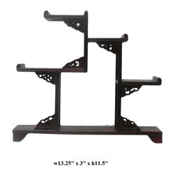 Reddish Brown Wood Tower Shape Small Curio Display Easel - This is an oriental small table top curio display stands / easels with reddish brown color.
