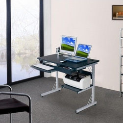 "Sharper Image - Computer Workstation with 3-Port USB Hub - Features: -Computer workstation.-Panels are made of MDF with vacuumed PVC laminate surface.-Steel frame with scratch resistant powder coated surface.-Ready and easy to assemble.-Includes a pullout keyboard with safety stop, a side utility drawer and bottom printer shelf.-Built-in 3-Port USB Hub included on the main desk area.-Distressed: No.-Collection: Sharper Image Office.-Desk Type: Computer Desk.-Powder Coated Finish: Yes.-Gloss Finish: No.-UV Finish: No.-Top Material : MDF / Laminate.-Base Material: MDF / Laminate.-Number of Items Included: 1.-Water Resistant: Yes -Water Resistant Details: Water Resistant..-Stain Resistant: No.-Heat Resistant: No.-Design: Standard.-Cable Management: No.-Keyboard Tray: Yes.-Height Adjustable: No.-Drawers Included: Yes -Number of Drawers: 1.-File Drawer: No.-Drawer Glide Material : Steel.-Safety Stop : Yes.-Locking Drawer: No.-Core Removable Drawer Locks: No.-Ball Bearing Glides: Yes.-Drawer Weight Capacity: 20 lbs..-Pencil Drawer: Yes.-Jewelry Tray: No.-Exterior Shelving : Yes -Number of Exterior Shelves: 1.-Adjustable Exterior Shelving: No..-Cabinets Included: No.-Scratch Resistant: No.-Chair Included: No.-Weight Capacity: 80 lbs.Specifications: -FSC Certified: No.-EPP Certified: No.-CARB Compliant: No.-ISTA 3A Certified: No.-Green Guard Certified: No.Dimensions: -Overall Product Weight: 42 lbs.-Overall Height - Top to Bottom: 30"".-Overall Width - Side to Side: 37.5"".-Overall Depth - Front to Back: 21.5"".-Drawer: -Drawer Interior Height - Top to Bottom: 3"".-Drawer Interior Width - Side to Side: 14"".-Drawer Interior Depth - Front to Back: 15""..-Shelving: -Shelf Height - Top to Bottom: 13.5"".-Shelf Width - Side to Side: 14"".-Shelf Depth - Front to Back: 15""..-Seat: No.-Desktop Height: 30"".-Desktop Width - Side to Side: 37.5"".-Desktop Depth - Front to Back: 21.5"".-Knee Space Height: 24.5"".-Knee Space Width: 20"".-Knee Space Depth: 21.5"".-Hutch : No.-Legs: -Leg Height: 30"".-Leg Width - Side to Side: 2"".-Leg Depth - Front to Back: 2""..Assembly: -Assembly Required: Yes.-Additional Parts Required: No.Warranty: -Product Warranty: 5 Year Limited Warranty."