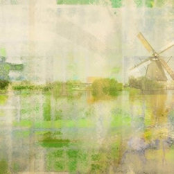 Parvez Taj - 'Manitoulin Island' Wall Print - A slightly different Dutch masterpiece. This Parvez Taj print is a light-infused image of a windmill and coastline, awash in tones of spring green, lapis and gold. This limited edition print has an archival rating that exceeds 150 years under gallery conditions, which makes it a relatively safe investment for your living room.