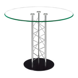 ZUO MODERN - Chardonnay Dining Table Clear Glass - Like an architectural tower, the Chardonnay dining table has a clear tempered glass top with a chromed steel tube center and a black solid steel base plate. The intricate diagonal latticing comes in both bar and dining heights.