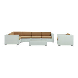 Modway Furniture - Modway Corona 7 Piece Sectional Set in White Mocha - 7 Piece Sectional Set in White Mocha belongs to Corona Collection by Modway Stages of sensitivity flow naturally with Corona's robust seating experience. Find meaning among cliffs and caverns as you become the agent of influence in the white rattan base and all-weather mocha fabric cushion repast. Open yourself to splendorous insights as you impart positivity among friends and family. Set Includes: One - Corona Outdoor Wicker Patio Armchair One - Corona Outdoor Wicker Patio Coffee Table One - Corona Outdoor Wicker Patio Corner Section One - Corona Outdoor Wicker Patio Left End Section One - Corona Outdoor Wicker Patio Right End Section Two - Corona Outdoor Wicker Patio Armless Sections Armchair (1), Coffee Table (1) , Corner Section (1), Left End Section (1), Right End Section (1), Armless Section (1)