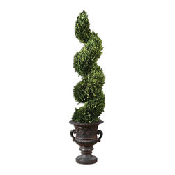 Uttermost - Uttermost Spiral Topiary Preserved Boxwood 60094 - Preserved while freshly picked, natural evergreen foliage looks and feels like artfully sculpted, living boxwood planted in an aged black urn with rust brown glaze.