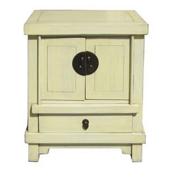 Golden Lotus - Off White Cream Lacquer End Table Nightstand - This is a modern end table nightstand with oriental accent and rustic off white cream color lacquer surface.