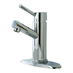 DecorSuite - Single Handle Mono Block Bathroom Sink Faucet - This Décor Single Handle Mono Block Bathroom Sink Faucet combine architectural form with clean design lines to give you a modern look in your bathroom.  It has a polished chrome finish and features a ceramic disc cartridge.  Made with our finest solid brass, it ensures quality and reliability.