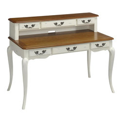 HomeStyles - Oak and Rubbed White Executive Desk and Hutch - The Executive Desk is constructed of poplar solids, engineered wood and oak veneers in a distressed oak and heavily rubbed white finish. The distressed oak features several distressing techniques such as worm holes, fly specking, and small indentations. Features include six storage drawers (one being a drop down keyboard tray), and cable access through hutch. Design features include shaped carved proud legs, corner peg accents, and detailed brass hardware. Assembly required. 54 in. W x 28 in. D x 40 in. H