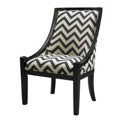 Linon - Black Chevron Carnegie Chair - Black finished legs. Some assembly required. Weight Limit: 250 lbs. Black Chevron Fabric. 24.75 in. W x 28.25 in. D x 37.75 in. H (39.68 lbs)The Carnegie Chair mixes traditional lines with modern fabric. The plush seat and chair back adds comfort to the piece, while the hardwood construction adds durability. Sleek swooping sides and slightly tapered legs are finished in a dark black. Black chevron fabric adds interest and bold, eye catching appeal to the piece.