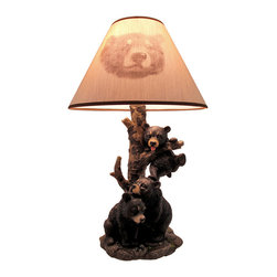Zeckos - Black Bear Family Table Lamp with Tree Bark Print Shade - This awesome table lamp features a family of black bears in the forest. Measuring 20 inches tall, this lamp includes the 12 inch diameter shade with a round bear print. The polyresin lamp is a wonderful decorative accent for nature lovers. It uses regular sized light bulbs, not included, up to 60 watts.