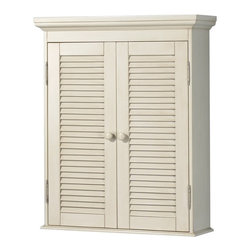 "Foremost - Foremost CTAW2429 Cottage Wall Cabinet in Antique White - Foremost CTAW2429 Cottage Wall Cabinet in Antique WhiteThe Foremost Cottage 23.75"" Antique White Wall Cabinet features 2 door shutters, exposed nickel hinges and wood door knobs to help add a casual yet stylish touch to your bathroom. The antique white finish can complement a variety of decorating schemes. The cabinet offers plenty of storage space for your bathroom essentials with 2 adjustable shelves that allow for storing containers of different sizes and shapes.Foremost CTAW2429 Cottage Wall Cabinet in Antique White, Features:bull; Dimensions: 23.75"" w x 29"" h x 8"" d"