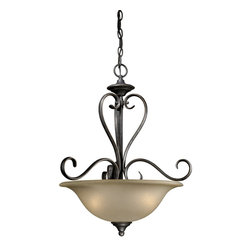 Vaxcel Lighting - Vaxcel Lighting RV-PDD200VT Riviera Traditional Inverted Pendant Light - The Riviera family embodies a fine ironworking craftsmanship aesthetic contrasted with light, sweeping forms.