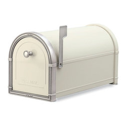 Architectural Mailboxes - Coronado Post Mount Mailbox Sand with Antique Nickel Accents - Priority post: If you're looking for a durable and unusually stylish mailbox, this one delivers. It's created of heavy galvanized steel for strength and has solid brass accents for a distinctive look.