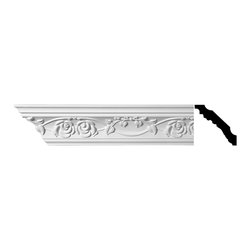 Renovators Supply - Cornice White Urethane Buckland - Cornice - Ornate | 11446 - Cornices: Made of virtually indestructible high-density urethane our cornice is cast from steel molds guaranteeing the highest quality on the market. High-precision steel molds provide a higher quality pattern consistency, design clarity and overall strength and durability. Lightweight they are easily installed with no special skills. Unlike plaster or wood urethane is resistant to cracking, warping or peeling.  Factory-primed our cornice is ready for finishing.  Measures 4 inch H x 94 inch L.