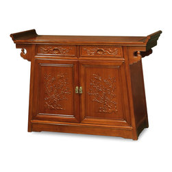China Furniture and Arts - Rosewood Flower & Birds Motif Altar Style Cabinet - The traditional altar for ancestral offering is now converted into a multi-functional cabinet. The top of the cabinet is ideal for displaying vases and statues. Ample storage space. Meticulously hand-carved flower and birds motif perfectly fit the classical mood of solid rosewood. Constructed with traditional joinery technique for long-lasting durability. Hand applied natural finish enhances the beauty of the wood grains.