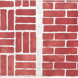 """Stencil Ease - Bricks Stencil - Bricks Home Decor Stencil Contains: 2 - 9"""" x 18"""" Stencil Sheets Actual Size: 2 1/2"""" to 8"""" high (6.35 cm to 20.32 cm) Bricks measure approximately 2.25 - 2.4 inches high x 7.3 - 7.503 inches wide. The bricks are stenciled using a small paint roller and Patio Brick patio paint over a concrete gray backround. You may also sponge on a little black white and moss green for the look of old brick. This design was painted using the following Patio paint colors (PATIO PAINT is for indoor and outdoor use!): 1 - 8 oz. bottle MDCP08016 Patio Brick 4 - 2 oz. bottles MDCP02012 Concrete Gray1 - 8 oz. bottle MDCP08014 Cloud White Complete kit comes with stencil Paints 1 T7602 - 2 inch foam roller 1 bag of Natural Sea Sponges and 1 can of repositionable adhesive spray."""