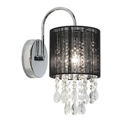 "Possini Euro Design - Black Line Shade 12"" High Chrome and Crystal Wall Sconce - The separate elements of this magnificent wall sconce flow together beautifully. A chrome finish wallplate and curved arm reach out to the sophisticated black shade created in a decorative threaded look. Strands of sparkling crystal dangle below and shimmer in the light of this fantastic contemporary sconce. Chrome finish. Crystal strands. Black thread shade. Takes one 40 watt bulb (not included). 12"" high. 6"" wide. Extends 9"". Shade is 6"" high and 5 1/2"" wide. Backplate is 4 1/2"" wide. Mounting point to top of fixture is 6 1/2"".  Chrome finish.   Crystal strands.   Black thread shade.   Takes one 40 watt bulb (not included).   12"" high.   6"" wide.   Extends 9"".   Shade is 6"" high and 5 1/2"" wide.   Backplate is 4 1/2"" wide.   Mounting point to top of fixture is 6 1/2""."