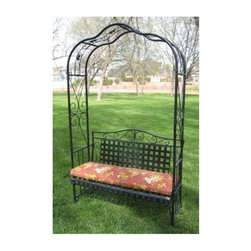 International Caravan - Outdoor Arbor Bench - Patio cushion not included. Comfortably fits two persons. Powder coated finish to protect against rust. Weather proof dual coating. UV light premium fading protection. Made from premium wrought iron. Distressed antique black color. Assembly required. 52 in. L x 20 in. W x 87 in. H (67 lbs.)Beautiful addition to new garden or patio.