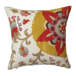 Yellow Suzani Floral Decorative Pillow Cover - One decorative pillow cover made to fit a size 18x18 pillow insert. Floral suzani pattern includes yellow, red, tan, blue gray, pink and cream. Pattern placement will vary on front and back. Finished with a concealed bottom zipper. Pillow insert is not included.