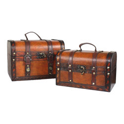 Decorative Leather Treasure Box - Small Trunk Chest - Decorative trunk that is great for storage and decoration Great Tressure Box Small wood trunk Old Fashioned hardware adds to antique look Decorated with faux leather Our warm and welcoming steamer trunk brings back days of old time. Remember how excited you are when you were a little kid to look into your grandma's old chest, our decorative trunks will bring back those memories and help you create some new ones too. Our hope chest boxes are all handcrafted and tailored to enhance the existing decor of any room in the home. Great to use for your very own treasure chest!