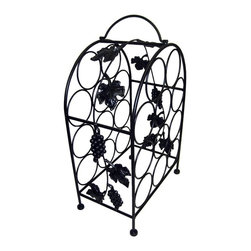 Pangaea Home and Garden - 11 Bottle Wine Rack in Black - Elegant, useful and affordable handmade piece. Holds eleven bottles of wine. Environment friendly product. Made from recycled wrought iron. Durable powder coated finish. No assembly required. 14 in. W x 9 in. D x 21 in. H (10 lbs.)The iron grape leaves that gently weave their way through the frame greatly enhance the aesthetic appeal of the wine cage.