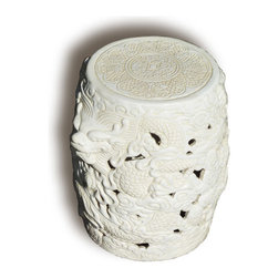 Dragon Garden Stool - This very intricately detailed dragon garden stool comes in a color that will work anywhere.